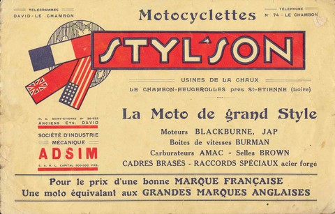 catalogue Styl'son 1929